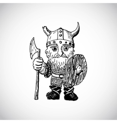 Funny cartoon viking vector