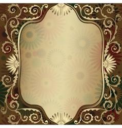 Gold frame floral vector image