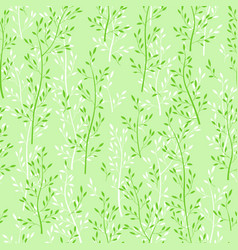 green floral seamless wallpaper with herbs vector image vector image
