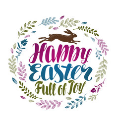Happy easter greeting card beautiful handwritten vector