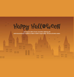 happy halloween style with castle vector image vector image