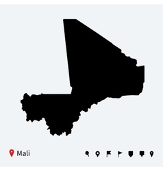 High detailed map of Mali with navigation pins vector image