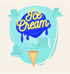 Ice cream as balloon with lettering concept vector