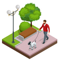 isometric man is on a walk with a robot dog vector image vector image