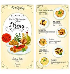 Italian pasta restaurant menu card template vector image vector image