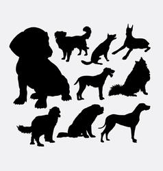Little and large dog pet animal silhouette vector