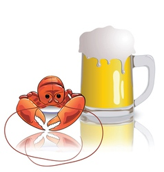 lobster and mug of beer vector image