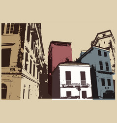 Old city typographic vintage poster design vector