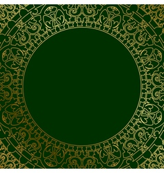 oriental ornament on green background vector image