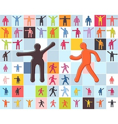 People minimalistic icons set Men women children vector image vector image