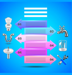 Plumbing infographics with arrows and objects vector image vector image