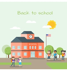 school building and children vector image vector image