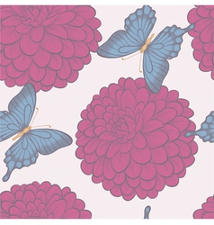 Seamless background with butterflies and flowers vector