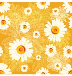 Seamless golden pattern with chamomiles vector
