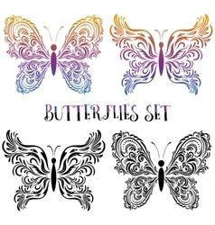 Set butterflies contour pictograms vector
