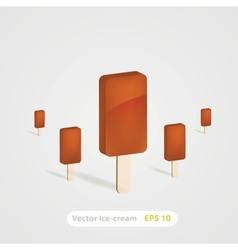 set of chocolate ice-cream dessert on wooden stick vector image