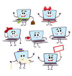 Set of funny cartoon laptop computer characters vector