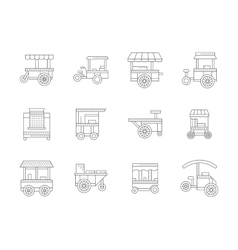 Set of linear food trolley icons vector image