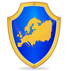 Shield with silhouette of europe vector