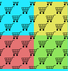 shopping cart seamless pattern set isolated on vector image vector image