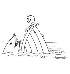 Stick man cartoon of man holding on the shipwreck vector
