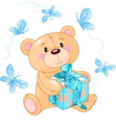 teddy bear with blue gift vector image vector image