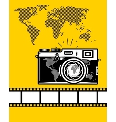 Travel set of camera map and camera roll vector image vector image