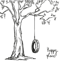Tree with tyre swing vector