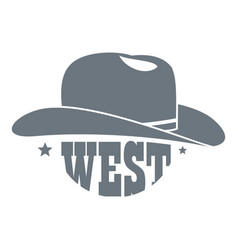 wild west cowboy hat logo simple style vector image