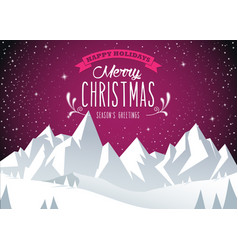 Winter mountain landscape scenery merry christmas vector