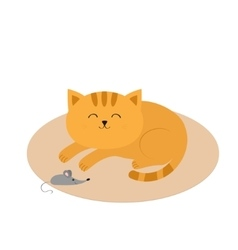 Cute sleeping orange cat lying on carpet rug mat vector