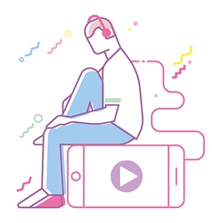 Teenage boy listening to music vector