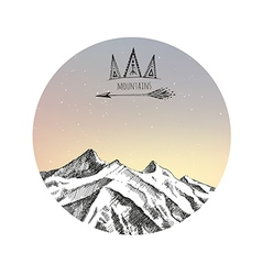 Hand drawn mountains vector