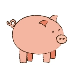 Pink piggy save money bank vector