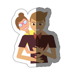 Loving couple hugging together shadow vector