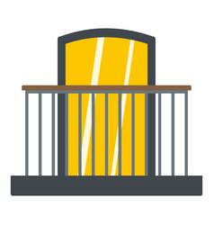 Balcony with iron railing i icon isolated vector