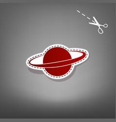 Planet in space sign  red icon with for vector