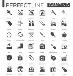 black classic web hiking and travel camping icons vector image