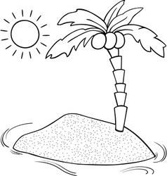 Desert island cartoon coloring page vector