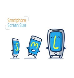 Cartoon of smart phone size comparison vector