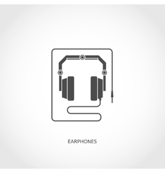 Musical instrument earphones flat icon vector