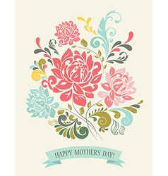 Vintage greeting card with decorative flowers vector