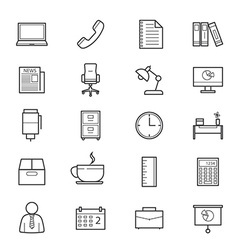 Office and business icons line vector