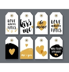 Heart shape label set vector