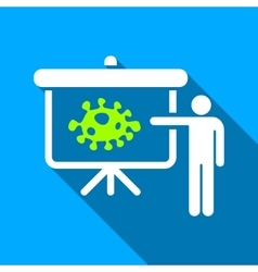 Bacteria lecture flat long shadow square icon vector