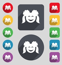 Smiling girl icon sign a set of 12 colored buttons vector