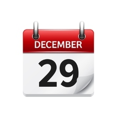 December 29 flat daily calendar icon vector