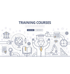 Training courses and education doodle concept vector