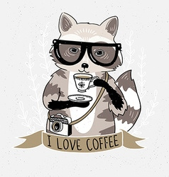Hipster raccoon Raccoon with coffee and glasses vector image