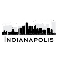 Indianapolis city skyline black and white silhouet vector